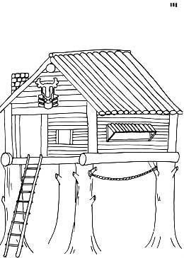 手绘山水木屋线稿